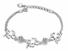 White Gold Silver Open Four Leaf Clover Simulated Diamond Charm Bracelet Gift B8