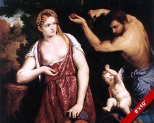 VENUS MARS & CUPID GOD GODDESS GREEK MYTHOLOGY PAINTING ART REAL CANVAS PRINT