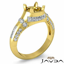 Pave Channel Set Diamond Engagement Ring 14k Yellow Gold Round Semi Mount 0.25Ct