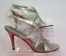 L3833-LADIES ANNE MICHELLE GOLD METALLIC HEELED SANDALS-ONLY £9.99!! **sale**