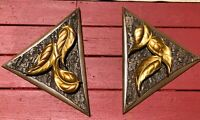 2 Vintage Mid-Century Burwood Wall Hangings Triangle Wood Faux Bark Gilded Leafs