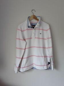 Womens Crew Clothing Wide Stripe Polo Shirt Size 16 Casual Logo