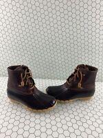 Sperry Top-Sider SALTWATER Brown Leather/Rubber Waterproof Rain Boots Women's 6