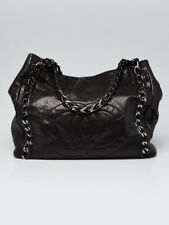 Chanel Black Glazed Caviar Leather Modern Chain North/South Tote Bag