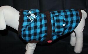 Hundemantel Jacke Winter L Hund Winterjacke blau schwarz braun Teddy kariert