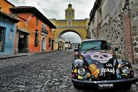 Antique Car Antigua Guatemala Colorful Poster - Drone Photo FAST, FREE SHIPPING