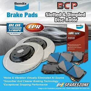 Front Slotted Disc Rotors + Bendix 4WD Brake Pads for Mitsubishi Triton ML MN MQ