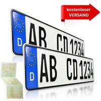 2 Stück EU KFZ Kennzeichen Nummernschilder für PKW Anhänger Fahrradträger
