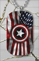 """USA ARMY FLAG STAR DOG TAG NECKLACE 30"""" FREE CHAIN -kl66re"""