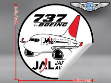 JAL JAPAN AIRLINES PUDGY BOEING B 737 B737 OLD LIVERY ROUND DECAL / STICKER
