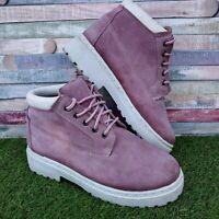 Vintage Ethel Austin Pink Ladies Boots Suede UK6 Walking Hiking White Retro