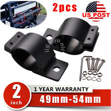 "2x 2"" Bull Bar Tube Mounting Bracket Clamp LED Light Bar 4WD Holder 4WD 49-54mm"