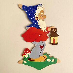 1970er Original Bergischer Engel Punkte-Zwerg 17cm SHABBY CHIC Holz Bild Figur