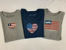 """New, Lot of 3, Life is Good Women's Short Sleeve """"American Life"""" T-Shirts, M"""