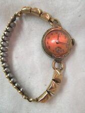 Vintage 1948 Helios Wrist Watch 10K RGP 15 Jewels copper color dial runs