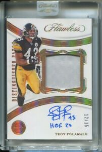 2020 Flawless Football Distinguished Patch Troy Polamalu relic Autograph 12/15