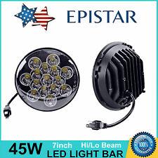 2X 7inch 45W Epistar Round LED Headlight Hi/Lo Beam Off-road Truck Jeep Wrangler