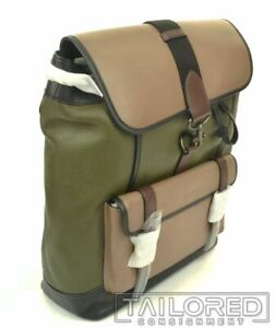 NEW - COACH Bleecker Deluxe Tan Green Leather Luxury Backpack 89296