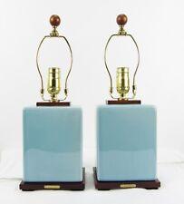 """Ralph Lauren 2 Porcelain Crackle Glaze Duck Egg Blue 18"""" Table Lamps"""