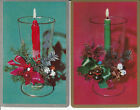 Vintage Swap/Playing Card - 2 SINGLE- CANDLES - CHRISTMAS THEME