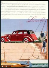 1937 Lincoln V-12 Willoughby Limousine car yacht sailboat art vintage print ad