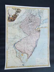 1778 Map POSTER Province of New Jersey Divided into East West Colorful 1962