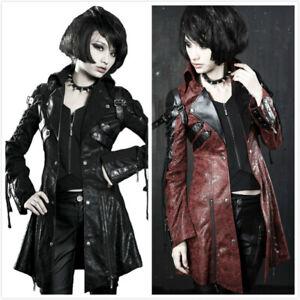 Punk Rave Women New Goth Women PU Leather Rock studded Jacket Coat Streampunk