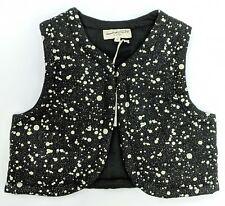 April Showers by Polder Vest Girl's Size 4 Black w/ White Dots