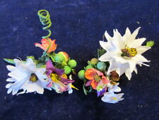 Millinery Flower Petite Bunch 2pc White Doll size for Hat Wedding or Hair KJ8