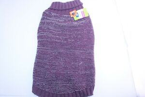 Top Paw Dogs Apparel Purple Reflective Knit Sweater Size Large