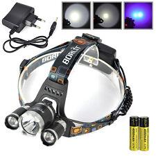 BORUiT 11000LM 3*XM-L T6+2R5 3 LED UV Angeln Kopflampe 18650 Stirnlampe+Ladegerä