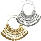 Turkish Coin Collar Jewelry Ethnic Boho Festival Statement Necklace Gold Silver