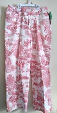 Evan Picone Stretch Red and White Toile Front Zip CAPRIS SIZE 6 Cotton Blend NWT