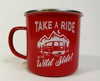 Anko Enamel Outdoor Camping Cup Printed Take a Hike 500ml Red 10x9cm NEW