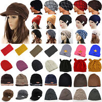 Women Men Winter Warm Beanie Slouch Hat Beret Braided Baggy Knit Crochet Ski Cap
