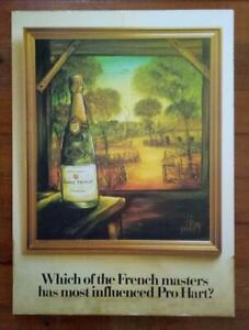 Vintage PRO HART LAURENT PERRIER CHAMPAGNE ADVERTISING POSTER- Mounted on Board