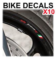 10X APRILIA TUONO MOTORCYCLE BIKE WHEEL STICKERS DECALS TAPE RIMS ITALIAN FLAG