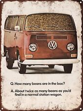 "1968 Volkswagen How Many Beans Are In The Box  Metal Sign Repro 9x12"" 60479"