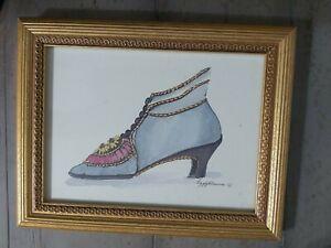 Peggy Abrams Boudoir Art Print Victorian Pair (5) Shoes Framed 10 x 8 Each