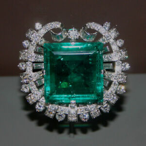 Vintage 4.60Ct Square Colombian Emerald Diamond 14K White Gold Over Brooch Pin