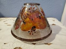 RARE Yankee Candle Autumn Fall Harvest Pumpkin Crackle Glass Large Shade Topper