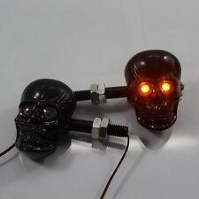 Pair Chrome LED Skull Turn Signal Light Indicator Motorcycles Street Dirt Bike