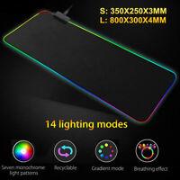 Large RGB LED Lighting Gaming Keyboard Mouse Pad Mat For PC Laptop  N