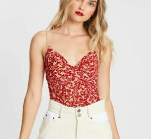 BNWT Missguided Curve Embroidery Red V Neck Floral Queen Bodysuit XL Size 16