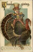 Thanksgiving - Little Uncle Sam Boy on Turkey c1910 Postcard