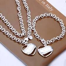 Halskette Medaillon Armband SET mit Herzen SILBER pl. 925 Damen Anhänger s18b