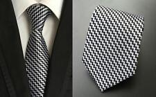 negro y plateado estampado hecho a mano 100% Seda Corbata De Boda