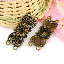 12Pcs Antiqued Bronze Flower Connectors 14.5x37mm A7015