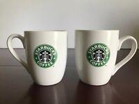 Starbucks Coffee Mugs 2008 White with Green Goddess Logo 10.2 fl oz Lot of 2