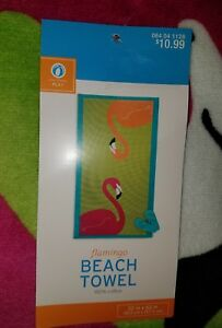 Lime Green Beach Towel With Large Pink Flamingos -- New With Tags